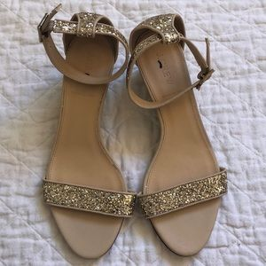 J. Crew gold glitter mini wedge
